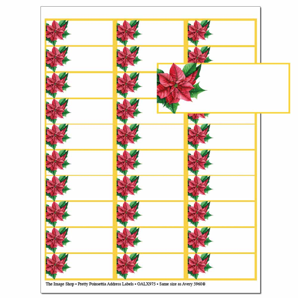 Pretty Poinsettia Address Labels