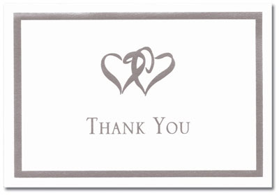 Silver Double Hearts Thank You Note Card