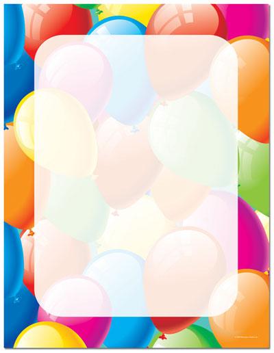 Throw a Party - Balloon Border Letterhead