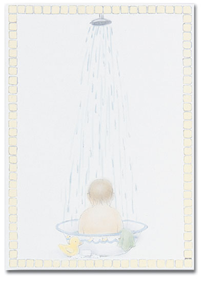 Bathing Baby Flat Card