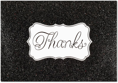 Black Glitzy Glitter Thank You Note Card