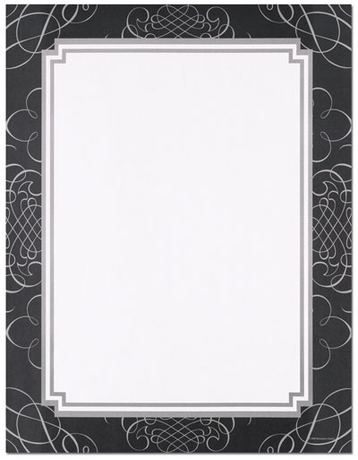 Black & Silver Scrolls Letterhead - 25 pack