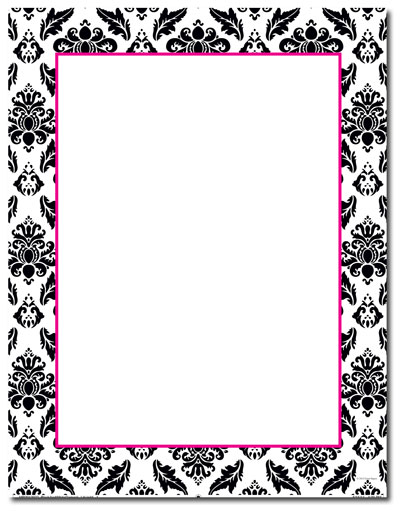 Black & White Damask Letterhead