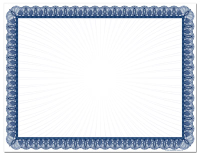 Blue Value Certificates - 25 pack