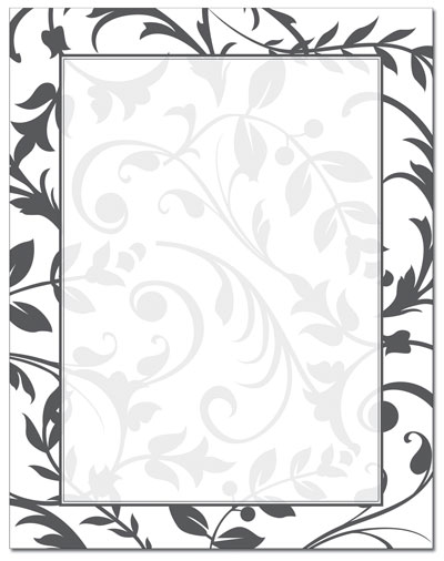 Black & White Vines Letterhead - 100 pack