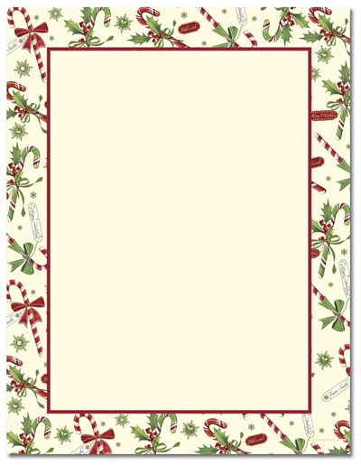 Candy Cane With Holly Letterhead - 25 pack