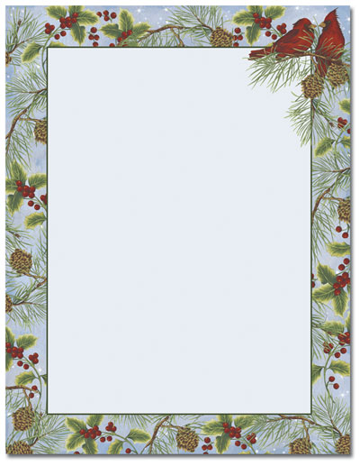 Cardinal With Pine Letterhead The Image Shop