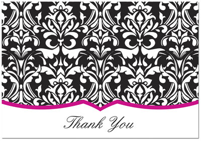 Classic Damask With Fuchsia Thank You Note Cards