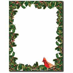 Cardinal & Holly Letterhead - 100 pack