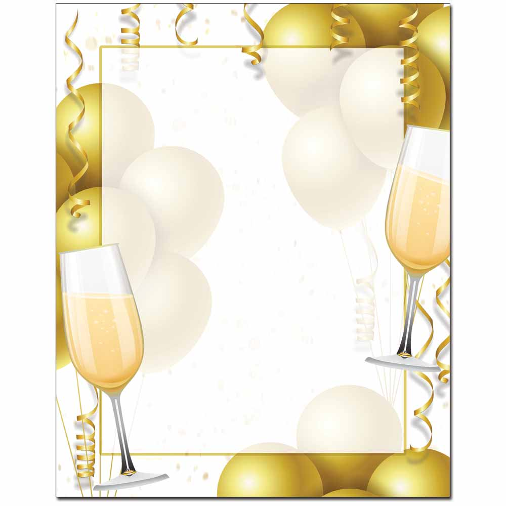 Champagne Balloons Letterhead - 100 pack