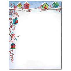 Christmas Birdhouses Letterhead - 25 Pack