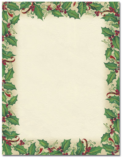 Dancing Holly Letterhead - 25 pack