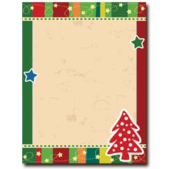 dotted tree christmas letterhead stationery