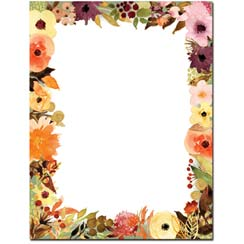 Fall Floral Letterhead - 100 pack