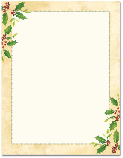 Falling Holly Letterhead - 80 pack