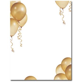 Throw A Party Gold Balloons Letterhead