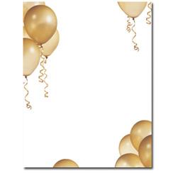 Gold Balloons Letterhead - 100 pack