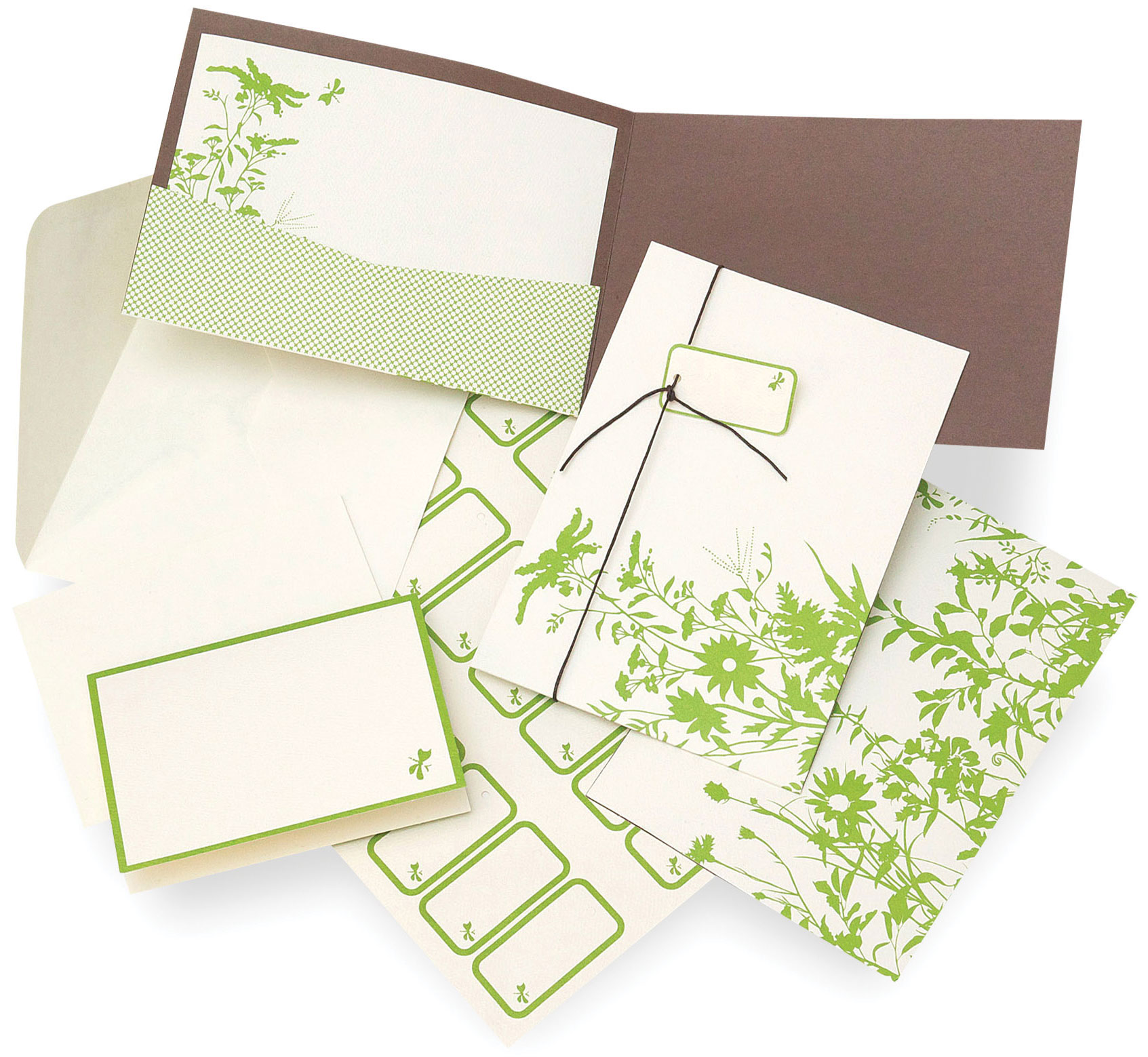 Green Floral Silhouette Invitation & Response Card Kit