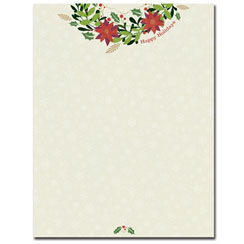 Happy Holiday Wreath Letterhead - 25 Pack