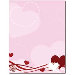 Hearts & Swirls Letterhead - 25 pack