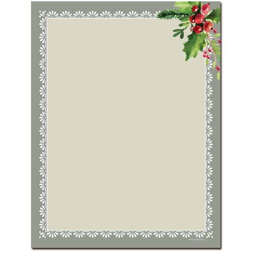 Holly-Frame-Letterhead-Christmas-Paper