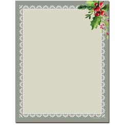 Holly Frame Letterhead - 100 pack