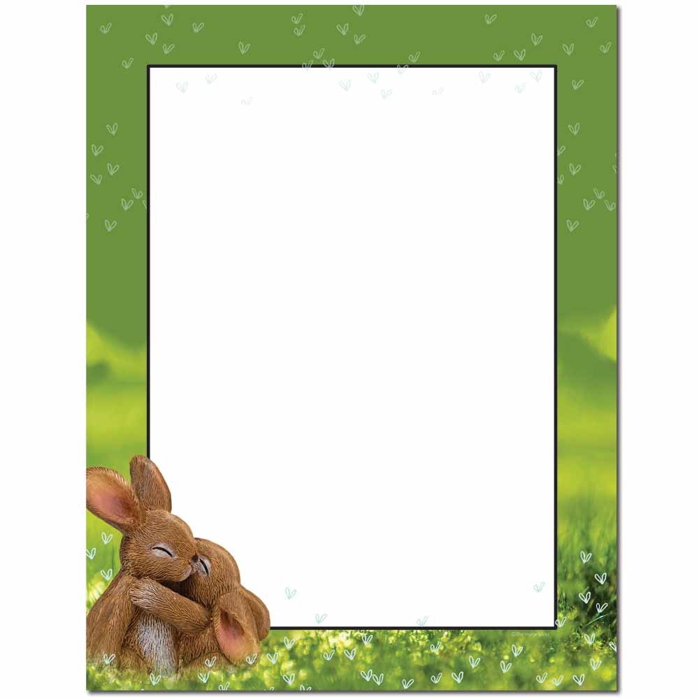 Hugging Bunnies Letterhead - 100 pack