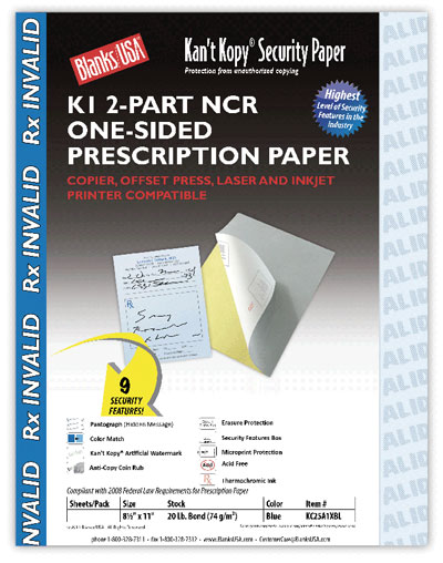 2-Part Security Prescription Paper - 250 Pack