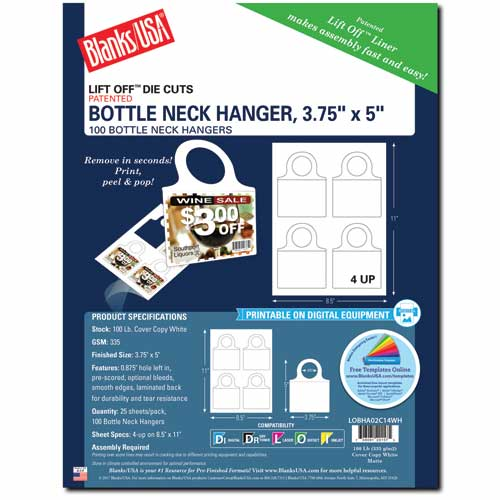 Bottle Neck Hanger W/Tab Closures