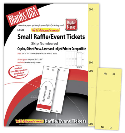 Small Raffle Tickets, 90lb Index - 1000pk