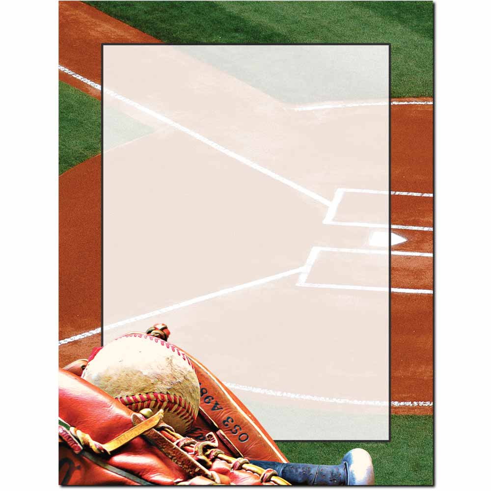 Mitt, Bat & Ball Letterhead - 100 pack