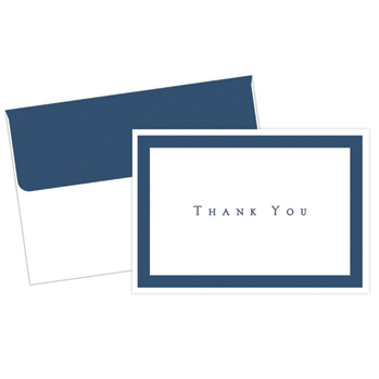 Navy Border Thank You Note Cards
