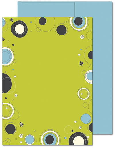 Outline Dots Lime Flat Cards