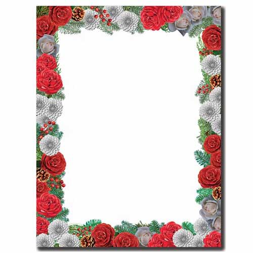 Pine-Flowers-Christmas-Letterhead-Paper