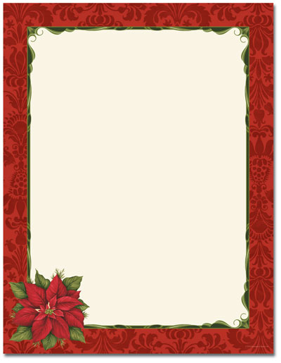 Poinsettia Damask Letterhead - 25 pack
