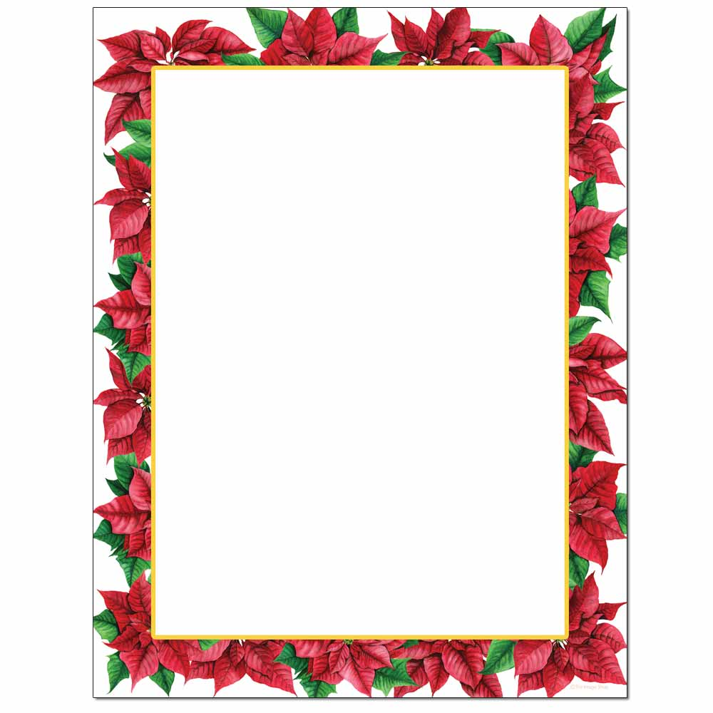 Pretty Poinsettia Letterhead - 100 pack