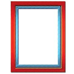 Red & Blue Border Letterhead - 100 pack