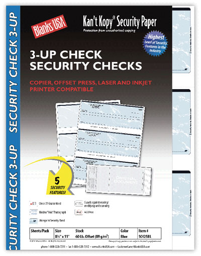 Security Checks, 3-up Checks - 100 Pack
