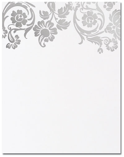 Silver Damask Flat Cards