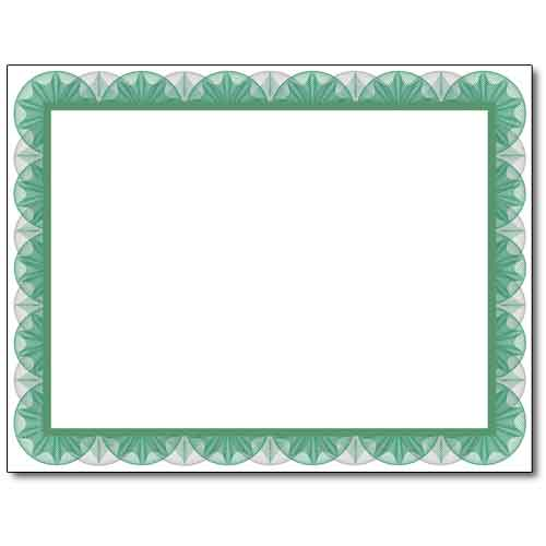 green spiral certificate stationery