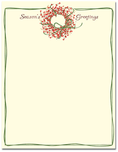 Season's Greeting's Wreath Letterhead - 25 Pack