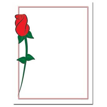 Single Red Rose Letterhead