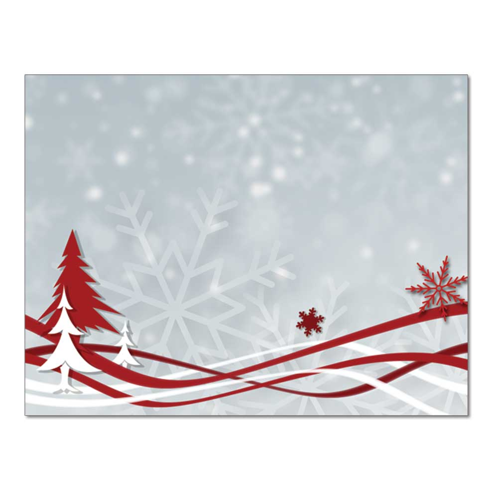 Snowflakes & Ribbon Post Card, 48pk