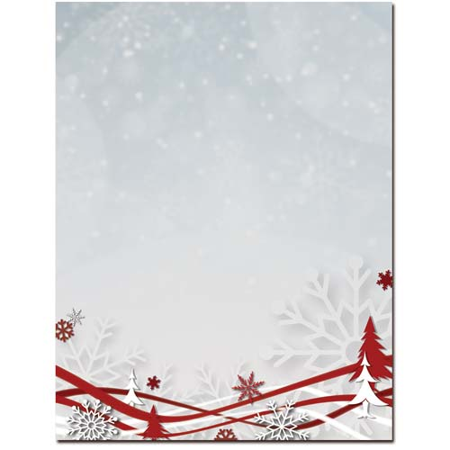 Snowflakes-Ribbons-Holiday-Letterhead-Paper