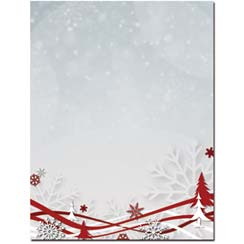 Snowflakes and  Ribbons Letterhead - 100 pack