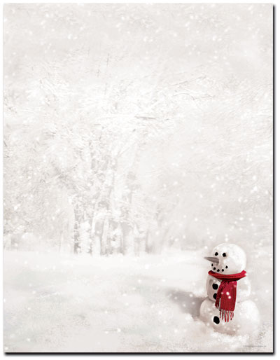 Snowman In Red Scarf Letterhead - 25 Pack