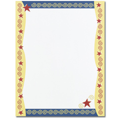 Red Stars & Swirls Letterhead - 80 Pack
