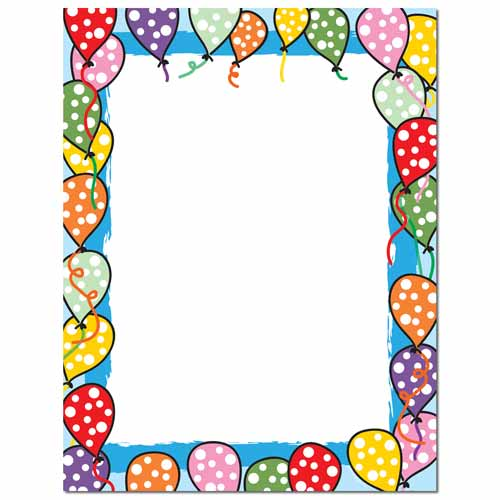 balloon border stationery