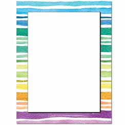 Watercolor Stripes Letterhead - 100 pack