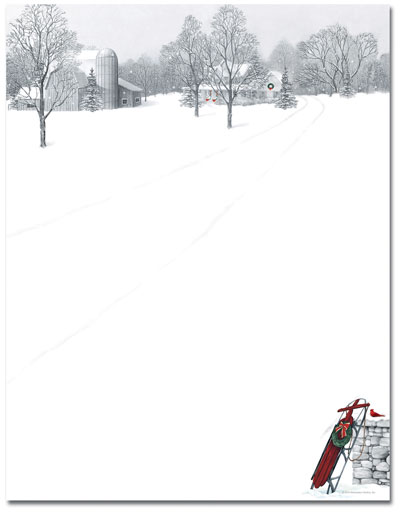 Winter Scene & Sled Letterhead - 80 pack